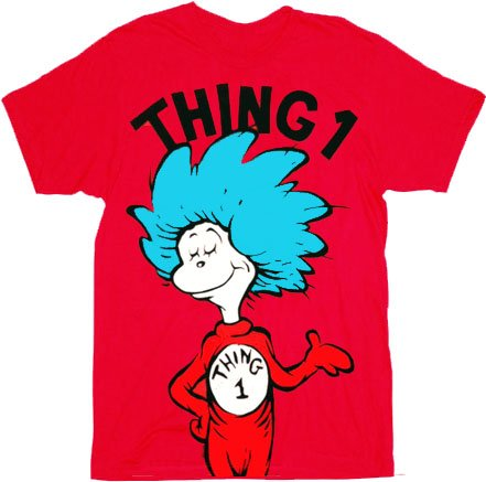 (Dr. Seuss Thing 1 Adult Red T-shirt (Adult)