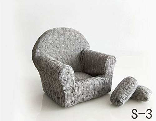 Dvotinst Newborn Photography Props, Soft Posing Mini Sofa Poser Arm Chair for Baby Photo Shooting, Studio Accessories (S3, 1-2 Months)
