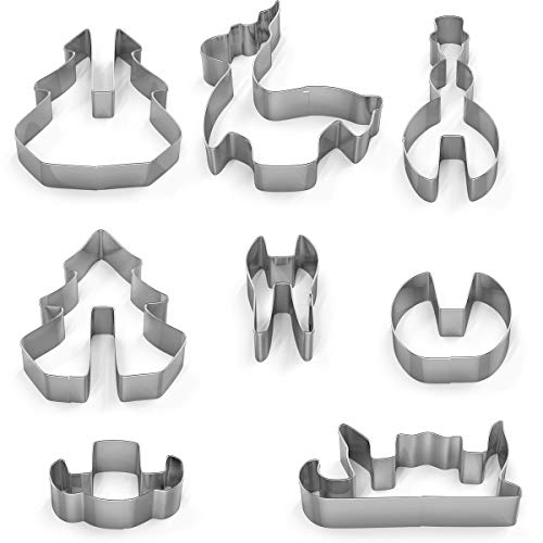 8 Pieces Stainless Steel Cookie Cutters, Animal Plant Classic Shape, Holiday for Kids Party and Baking Gift