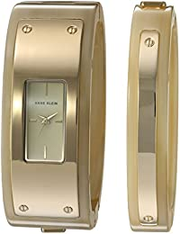 Women's AK/2826HNST Gold-Tone and Horn Resin Watch and Bangle Set