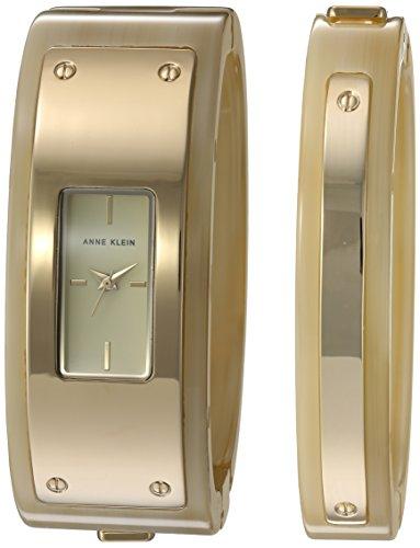 Anne Klein Women's Quartz Metal and Resin Dress Watch, Color:Beige (Model: AK/2826HNST)