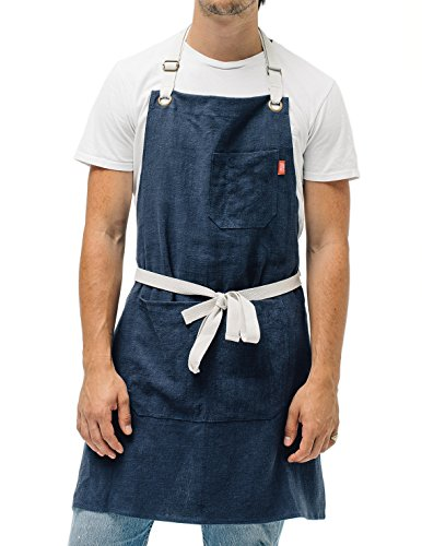Linen Kitchen Apron by Abbot Fjord - Mens and Womens Linen Bib Apron - Adjustable with Pockets - Inspired by Professional Chefs (Navy)