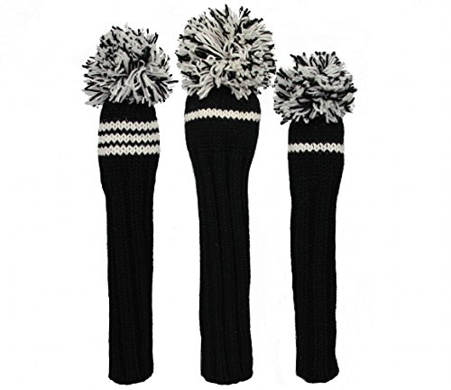 Sunfish Knit Wool Headcover Set of 3 - Driver 3wood Hybrid (Black/White) (Sunfish Headcover Driver)