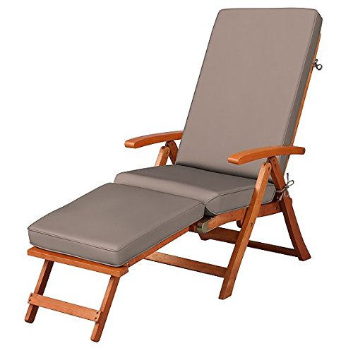 Steamer Deck Chair - Cocoa Brown Outdoor All Weather Cushion for Steamer Pool Deck Chair Seasonal Replacement Cushion