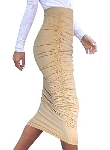 8aa2ebe94e Merryfun Women's High Waist Ruched Frill Ruffle Pencil Mid-calf Skirt