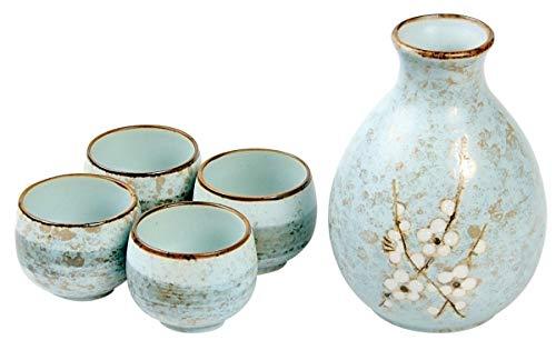 Hinomaru Collection Japanese Soshun Early Spring Mint Green Pottery Sake Set with 8 fl oz Tokkuri Bottle and Four 1 fl oz Ochoko Cups Gift Set Made In -