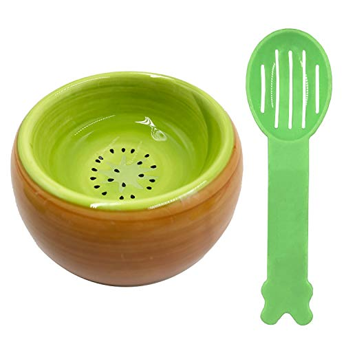Guinea Pig Food Hamster Bowl Ceramic Prevent Tipping Moving and Chewing Wonderful Food Dish for Small Rodents Gerbil Hamsters Mice Cavy Hedgehog and Other Small Animals 1 Bowls + 1 Spoon (Kiwi Fruit)