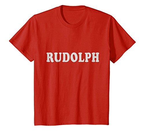 Kids Halloween Group Costume T Shirt Santa Reindeer Rudolph Tee 4 Red