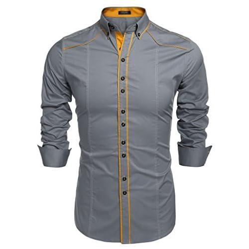 c7dc6919ec6fe 70%OFF COOFANDY Camisa Casual Hombre Manga Larga de Vestir Color Contraste  de Moda