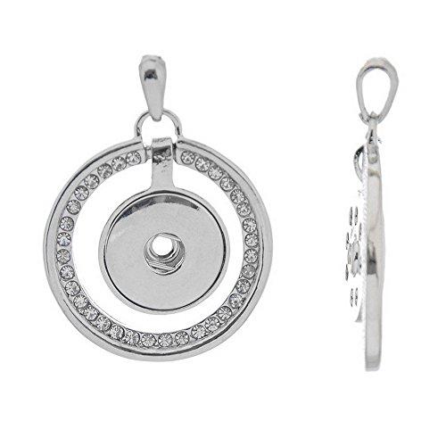 (Godagoda Silver Tone Color Hollow Circle White Rhinestone Snap Button Pendant for DIY Bracelet)