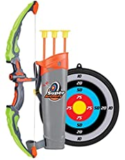 AM ANNA Kids Archery Bow Arrow Toy Set with Targets, Suction Cup Arrows and Quiver, LED Light Up Function Toy