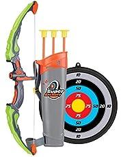 مجموعة العاب سهم وقوس الرماية مع اهداف وكأس شفط وجعبة سهام، لعبة تعمل بإضاءة ليد