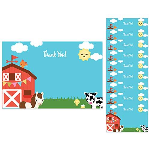 Farm Barnyard Thank You Cards (10 Count) With Envelopes Bulk Birthday Party Bridal Blank Graduation Kids Children Boy Girl Baby Shower (10ct. Thank You)]()