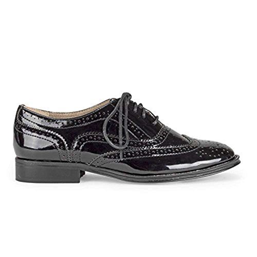 (Wanted Shoes Womens Babe Oxford Shoe (8, Black Patent))