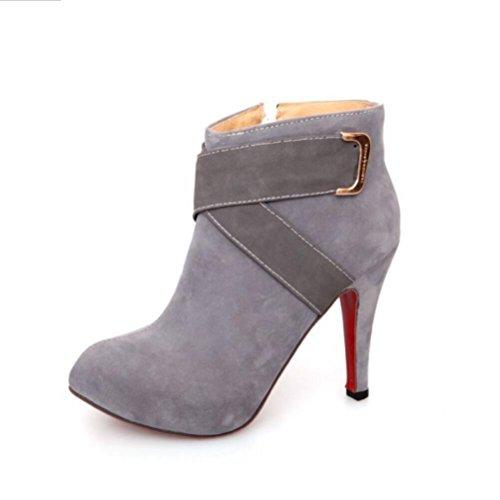 Ei&iLI Chaussures talons hauts cheville Bootie femme / a souligné Toe Boots Dress/Casual , gray , 36