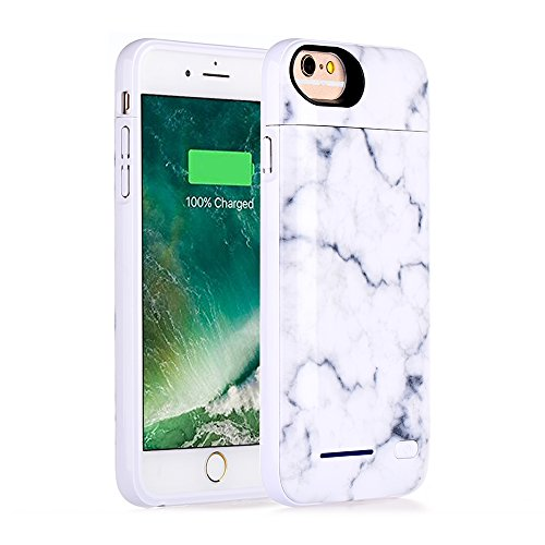 iPhone 8, iPhone 7, iPhone 6 Battery Case, Marble Series - 3500mAh Ultra Slim Extended Battery Backup Charging Case Charger Pack Power Bank - White