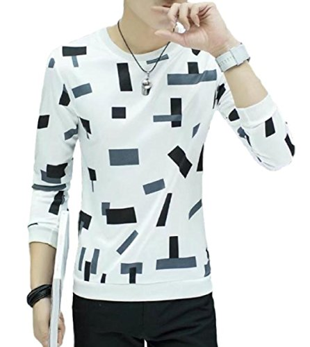 [meryueru(メリュエル)] ブロック パターン カットソー オシャレ 八分袖 トップス カジュアル インナー メンズ