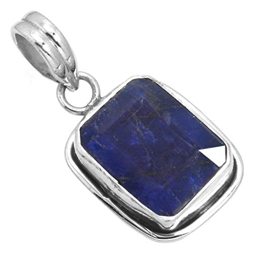 Blue Sapphire Gemstone Pendant Solid 925 Sterling Silver Handcrafted Jewelry from Jeweloporium