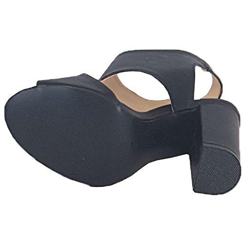 Sandaalit Kantapää Block Uusi Toe Juhlamuoti Solki Naisten Muuli 1706071 Naiset Musta Peep Kengät wqAn5In4x