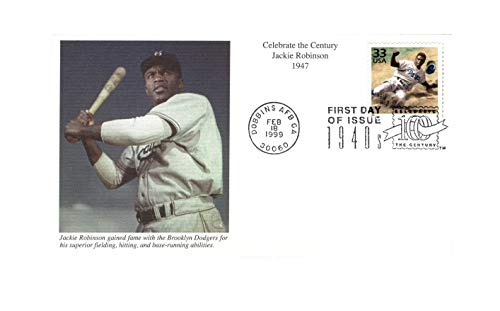 FDC #3186c Jackie Robinson - Photo of Robinson at Bat, Stamp Shows Robinson Sliding {Mystic Unaddressed} This is a scarce FDC