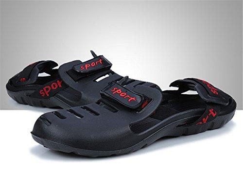 Bininbox Heren Platte Sandalen Ademende Schoenen Gesloten Teen Slippers Gat Velcro Zwart