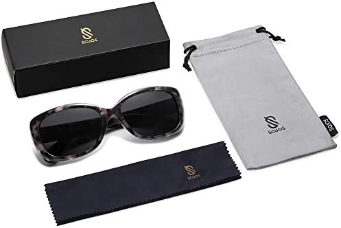 SOJOS Vintage Square Sunglasses for Women Polarized UV Protection Havana Frame SJ2111