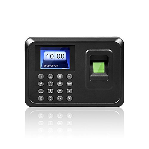"Tukzer A6 2.4"" TFT Biometric Fingerprint Time Attendance Clock for Employees Payroll Recorder for Company, Hospital, School + Support Fingerprint, Password"