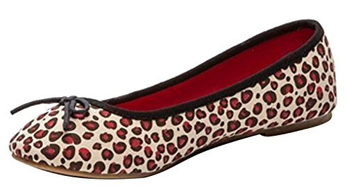 Coolway Ladies Ballet Flats Round Toe With Ribbon Liliprin Leopard Print Beige, Red Ballerinas; Model: LILIPRIN-Red