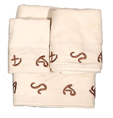 HIEND acentos bordados marcas occidental juego de toallas, crema: Amazon.es: Hogar