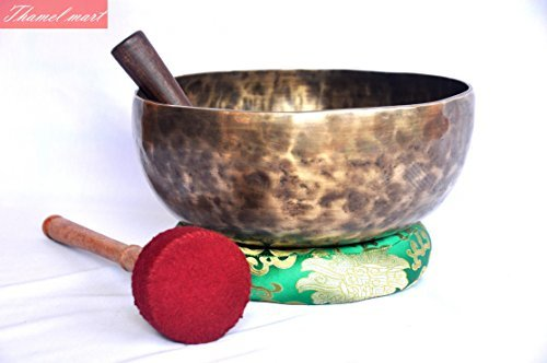 Root and Om Chakra C Note Anitque Hand Hammered Tibetan Meditation Singing Bowl 10 Inches - Yoga Old Bowl By Singing bowl house