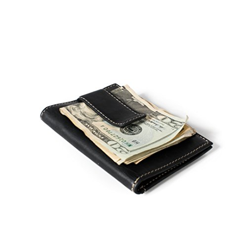 RFID Wallet Vertical Money Clip with ID - Best Quality Leather - Best RFID Blocking Wallet - (Money Clip Id Wallet)