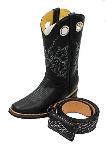 Men's Genuine Cowhide Leather Cowboy Square Toe Rodeo Boots with Free Belt_Black-10