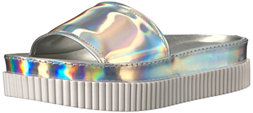 KENDALL + KYLIE Women's Isla Slide Sandal, Silver, 7.5 Medium US by KENDALL + KYLIE