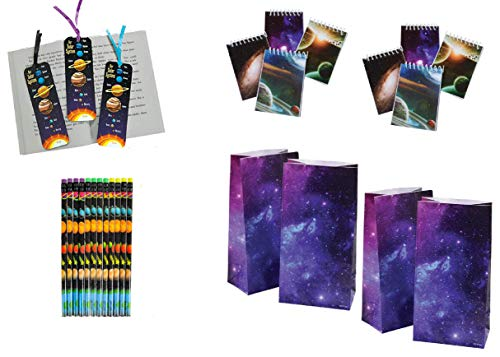 Awesome Space/Solar System Theme Party Pack - 48 Solar System Bookmarks/12 Space Pencils/12 Space Station Notebooks & 12 Space Goody Bags (Jupiter Pinata)