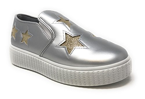 (Pink Label Women's Slip-On Stylish Fashion Sneaker with Glitter Stars in Silver Size: 10)