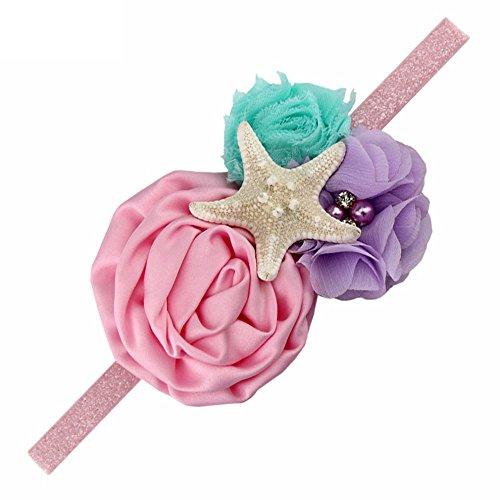 YanJie Aqua Lavender Glitter Starfish Mermaid Headband for Baby Birthday Gift (M, Pink) (Lavender Girl Headbands)
