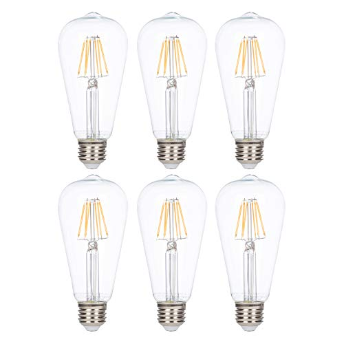LED Edison Vintage Filament ST21 (ST64) Light Bulbs by Simba Lighting | 6W Dimmable 60W Equivalent Clear Glass Decorative Antique Retro, Standard Medium E26 Base, UL Listed, Warm White 2700K, 6 Pack