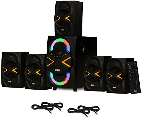 Acoustic Audio AA5210 House Theater 5.1 Speaker System with Bluetooth, LED Lights, FM and 4 Extension Cables