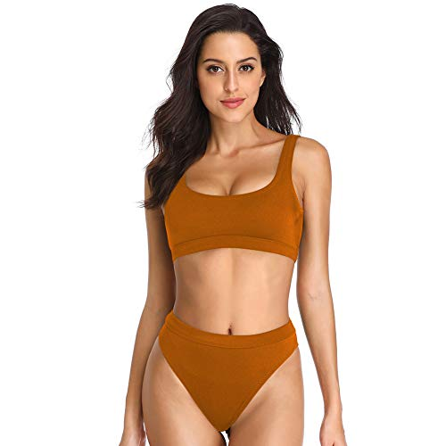 Dixperfect Two Pieces Bikini Sets Swimsuit Low Scoop Top High Waisted Cheeky Bottom (M, Dark Orange) ()
