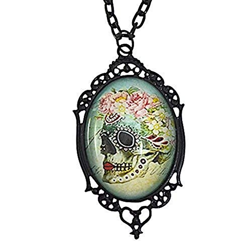 Running With Scissors Sugar Skull Floral Day of The Dead Cameo Necklace ()