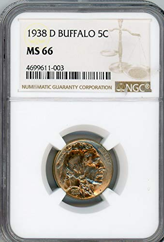 1938 D American Buffalo Nickel MS-66 NGC