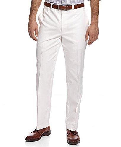 Ralph Lauren Lauren by Men's Solid Flat Front Cotton Pants (34 x 32, White)