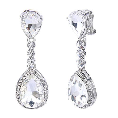 cad665e7a BriLove Wedding Bridal Clip-On Earrings for Women Crystal Teardrop Infinity  Figure 8 Chandelier Dangle