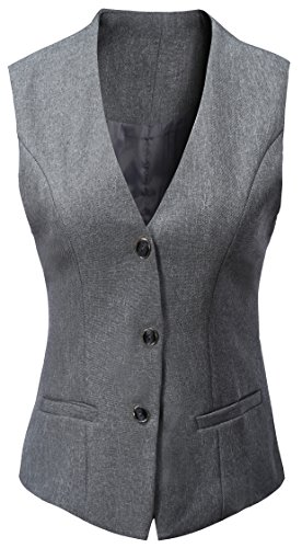 Vocni Women's Fully Lined 4 Button V-Neck Economy Dressy Suit Vest Waistcoat ,Gray,US M+ ,(Asian (Fully Lined Suit)
