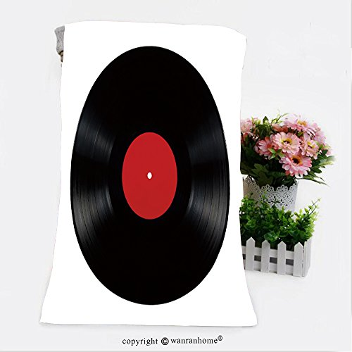 VROSELV Cotton Microfiber Bathroom Bath Towel-Black vinyl lp album disc; isolated long play disk with blank label in red_ Custom pattern of household products(31.5
