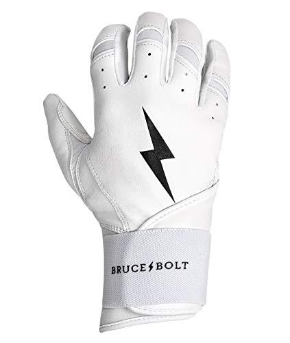 (BRUCE+BOLT Premium Long Cuff Batting Gloves - White Small)