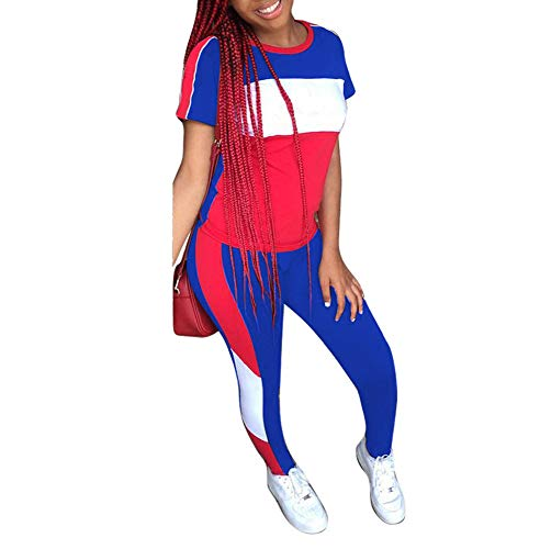 Womens 2 Piece Sports Outfits - Stripe Patchwork Tracksuit Short Sleeve Pullover Sweatshirt+ Long Pants Sweatsuits Set Blue (Women For Jumpers Sexy Short)
