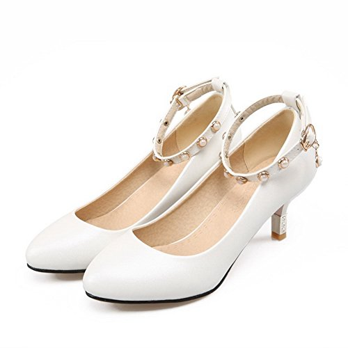 AllhqFashion Womens Pointed Closed Toe Buckle PU Solid Kitten Heels Pumps-Shoes White u8mTboo