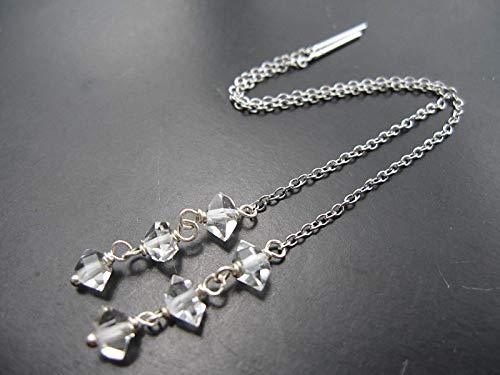 Herkimer Diamond Quartz Crystal 925 Sterling Silver Threader Earrings,Drop Length 6 cm,EHS7