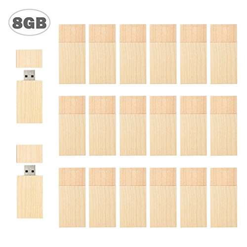 Flash Drive 8GB, USB 2.0 TEWENE Wood Thumb Zip Jump Drive Memory Stick USB Drive Data Picture Storage Stick Bulk Drive Low Profile for Kids iPhone Computer Phone iOS Android Devices (20 Pack)